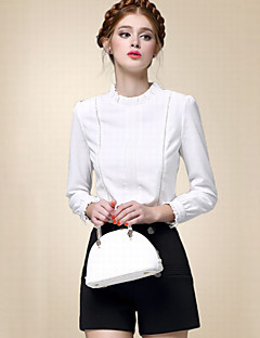 Women's Casual/Daily Simple Fall Shirt,Solid Stand Long Sleeve White Cotton Thin
