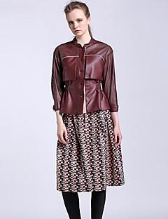 CARBAMMI  Women's Geometric Pink SkirtsVintage Knee-length