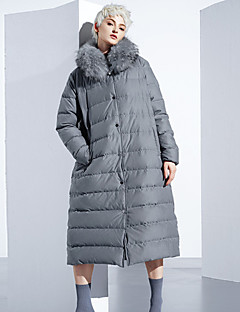 Damen Daunen Mantel,Lang Einfach Ausgehen / Lässig/Alltäglich Solide-Polyester Weiße Entendaunen Langarm Grau Ständer