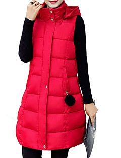 Women's Long Padded Coat,Simple Plus Size Solid-Cotton Polypropylene Sleeveless Turtleneck Pink / Red / White / Black / Silver