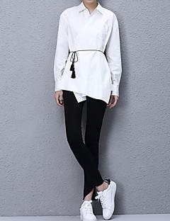 Women's Casual/Daily Simple All Seasons ShirtSolid Shirt Collar Long Sleeve White Cotton Medium