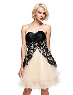 ts couture® cóctel vestido de una línea strapless corto / mini de encaje / raso / tul / charmeuse con el cordón