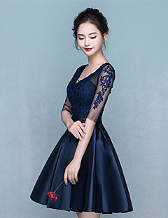 Short / Mini Jersey Lace-up Bridesmaid Dress - A-line V-neck with Sash / Ribbon
