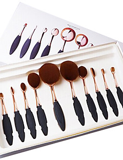 10pcs Oval Toothbrush Shape Rose Gold Makeup Brush Set