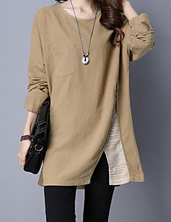 Women's Casual/Daily Simple Fall Winter T-shirt,Solid Round Neck Long Sleeve Red Polyester Medium