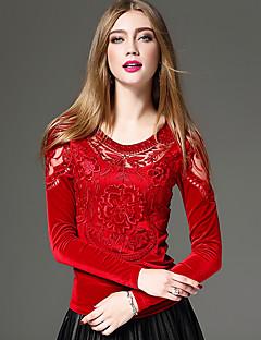 Damen Solide Stickerei Sexy Chinoiserie Anspruchsvoll Ausgehen Lässig/Alltäglich Formal T-shirt,Rundhalsausschnitt Herbst Winter Langarm
