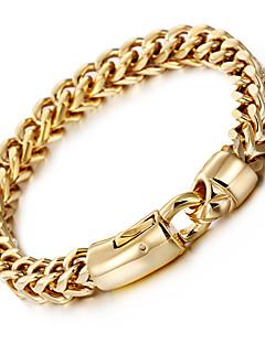 Heren Armbanden met ketting en sluiting Modieus Roestvast staal Verguld 18K goud Geometrische vorm Gouden Sieraden VoorFeest Halloween