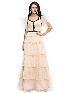 TS Couture® Prom  Formal Evening Dress Sheath / Column V-neck Floor-length Organza with Appliques / Tassel(s) / Pleats
