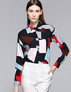 Women's Casual Work Spring / Fall Shirt Geometric / Color Block Shirt Collar Long Sleeve