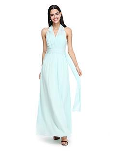 2017 לנטינג bride® באורך הקרסול שיפון שמלת השושבינה אלגנטי - קולר עם אבנט