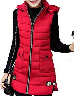 Women's Long Padded Coat,Simple Plus Size Solid-Cotton Polypropylene Sleeveless Turtleneck Blue / Pink / Red / Black / Silver