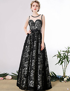 Formal Evening Dress - See Through A-line Scoop Floor-length Lace with Crystal Detailing
