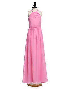2017 Lanting Bride® Floor-length Chiffon Junior Bridesmaid Dress A-line Halter with Sash / Ribbon