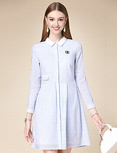 Women's Casual/Daily Simple A Line Dress,Solid Shirt Collar Above Knee Long Sleeve Blue Cotton Fall High Rise Inelastic Thin