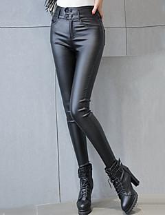 Mulheres Calças Sensual / Moda de Rua Skinny Poliuretano Com Stretch Mulheres