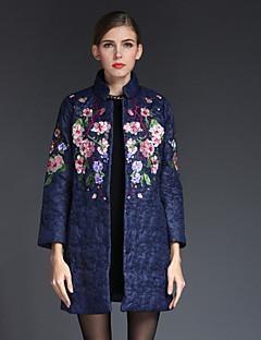Casual/hétköznapi / Nagy méretek Kínai Téli-Női Kabát,Hímzett Hosszú ujj Kék / Piros / Zöld Egyéb