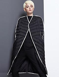 Damen Daunen Mantel,Lang Einfach Lässig/Alltäglich / Ausgehen Einfarbig-Nylon Weiße Entendaunen Langarm Schwarz V-Ausschnitt