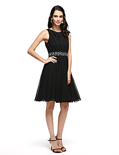 2017 TS Couture® Prom Cocktail Party Dress - Little Black Dress A-line Notched Short / Mini Satin with Sash / Ribbon / Bow(s)