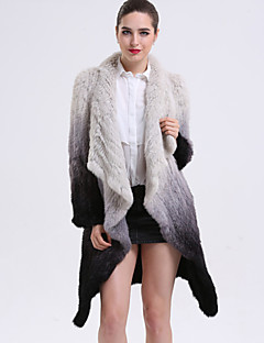 BF-Fur Style Women's Casual/Daily Sophisticated Fur CoatColor Block Notch Lapel Long Sleeve Winter White Rabbit Fur