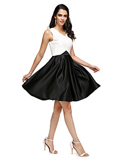 TS Couture® Cocktail Party Dress A-line V-neck Knee-length Stretch Satin with Pockets / Criss Cross