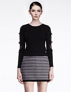 CARBAMMI  Women's Casual/Daily Simple Regular PulloverSolid Black Round Neck Long Sleeve Acrylic Fall Thin