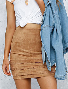 Women's Bodycon Solid Tassel Skirts,Going out / Casual/Daily Street chic High Rise Mini Zipper Polyester Micro-elastic Fall / Winter
