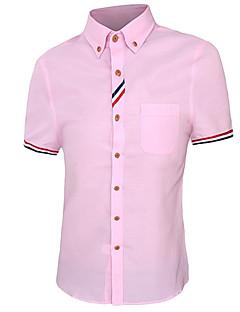 Herren Solide / Druck Einfach Lässig/Alltäglich Hemd,Hemdkragen Frühling / Herbst Kurzarm Blau / Rosa / Rot / Weiß Baumwolle Mittel