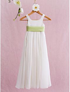 Lanting Bride A-line / Princess Floor-length Flower Girl Dress - Chiffon Sleeveless Square with Draping / Sash / Ribbon