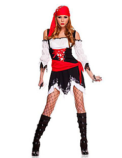 Julemands Dragt Pirat Cosplay Kostumer Festkostume Festival/Højtider Halloween Kostumer Rød+Sort Trykt mønster Kjole Hovedstykke Bælte
