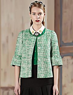 Damen Geometrisch Retro Ausgehen Jacke,Frühling / Herbst Rundhalsausschnitt ¾-Arm Beige / Grün / Gelb Undurchsichtig Baumwolle / Polyester