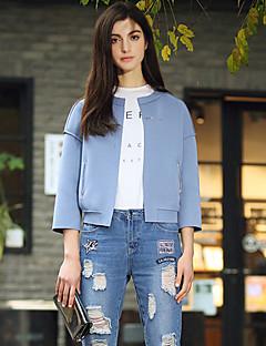 Damen Solide Einfach Ausgehen Jacke,Frühling / Herbst V-Ausschnitt Langarm Blau / Grau Mittel Kunstseide / Polyester / Elasthan