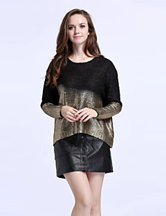 Women's Sophisticated PulloverColor Block Black / Gold Round Neck Long Sleeve Cashmere Fall / Winter Medium