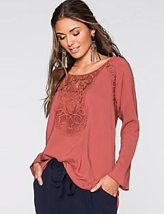 Majica s rukavima Žene,Jednostavno / Ulični šik Ležerno/za svaki dan Jednobojni-Dugih rukava Okrugli izrez-Proljeće / JesenCrvena /