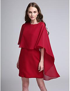 LAN TING BRIDE Krátký / Mini Klenot Šaty pro družičky - Elegantní Poloviční rukáv Šifón
