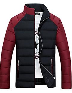 Heren Effen Normaal Gewatteerd Jas-Casual/Dagelijks Eenvoudig Katoen Polyester Opstaand Lange mouw Blauw / Zwart