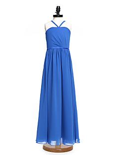 2017 Lanting Bride® Floor-length Chiffon Junior Bridesmaid Dress A-line Spaghetti Straps with Sash / Ribbon / Side Draping