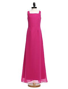 2017 Lanting Bride® Floor-length Chiffon Junior Bridesmaid Dress Sheath / Column Square with Buttons