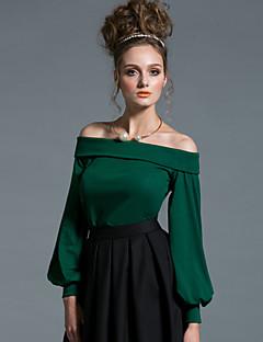 Damen Standard Pullover-Ausgehen Sexy Einfach Solide Schulterfrei Langarm Baumwolle Frühling Herbst Mittel Dehnbar