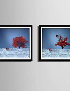E-HOME® Framed Canvas Art, Red Tree in The Snow Canvas Print Set of 2