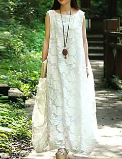 Kadın Günlük/Sade Sade Salaş Elbise Solid,Kolsuz Yuvarlak Yaka Maksi Pamuklu Bahar Yaz Normal Bel Esnemez Orta