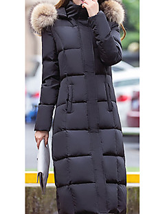 Women's Down Coat,Simple Casual/Daily Solid-Polyester White Duck Down Long Sleeve Black / Gray