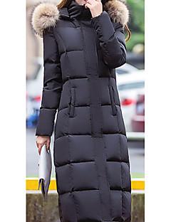 Dámské Dlouhý kabát Jednoduché Běžné/Denní Jednobarevné-Kabát Polyester Prachové kachní peří bílé Dlouhý rukáv Černá / Šedá