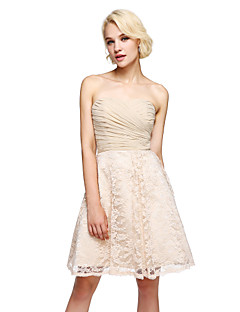Lanting Bride®Knee-length Chiffon / Lace Bridesmaid Dress - Elegant A-line Sweetheart with Criss Cross / Ruching