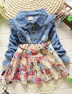Baby Casual/Daily Floral Dress,Cotton Spring / Fall Blue / Pink