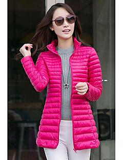 Manteau Doudoune Femme,Longue simple Décontracté / Quotidien Grandes Tailles Couleur Pleine-Nylon Duvet de Canard Blanc Manches Longues