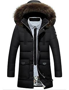 Heren Eenvoudig Winter Jas,Casual/DagelijksLange mouw Rood / Zwart / Groen Effen Polyester
