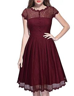Sukienka swingowa Sukienka Damskie Codzienne Vintage / Prosta Jendolity kolor,Okrągły dekolt Do kolan Krótki rękawNiebieski / Czerwony /