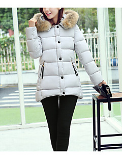 Women's Regular Padded Coat,Simple Plus Size / Casual/Daily Solid-Cotton / Polyester Polyester / Cotton Long Sleeve HoodedPink / Black /