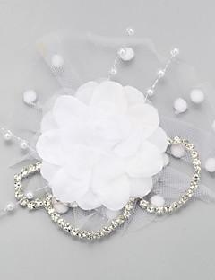 Women's Rhinestone Imitation Pearl Chiffon Net Headpiece-Wedding Special Occasion Birdcage Veils 1 Piece
