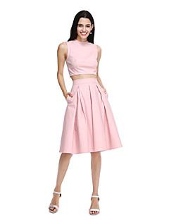 LAN TING BRIDE Knee-length Jewel Bridesmaid Dress - Elegant Sleeveless Cotton